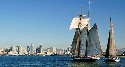 The Californian Yacht Sailing on San Diego Bay