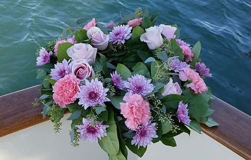 Wreath with Purple flowers for Scattering at Sea