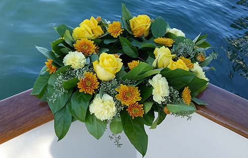 Wreath with Yellow Roses for Scattering at Sea