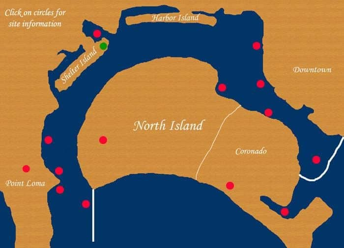 Map of Yacht Charter Stops while on a Bay Tour with San Diego Boat Tours