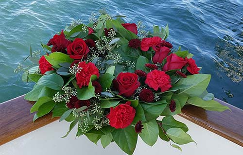 Wreath of Red Roses for Scattering at Sea - Sea Burial